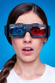Woman watching 3d film — Stock Photo