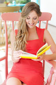 Woman resting and reading favorite book — Stock Photo