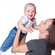 Mother with smiley six month old baby — Stock Photo #13592168