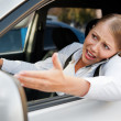 Angry female driving the car - Foto de Stock
