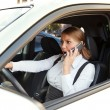 Businesswoman angrily talking on the phone — Stock Photo