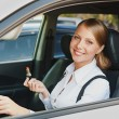 Woman sitting in the car and holding lipstick - Foto de Stock