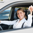 Young woman sitting in car — Stock Photo #13771970