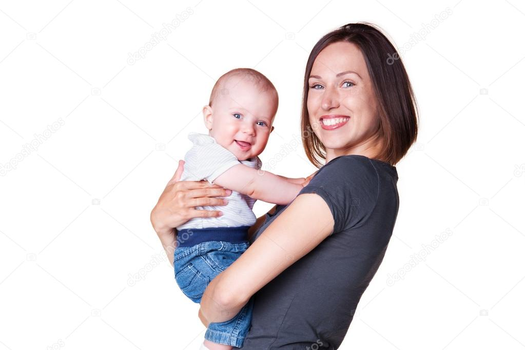 Young mother holding in her arms smiley son. isolated on white background  Stock Photo #13771918