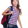 Stock Photo: Portrait of schoolgirl with knapsack