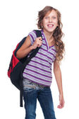 Excited pupil holding knapsack — Stock Photo