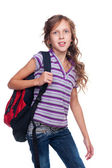 Portrait of schoolgirl with knapsack — Stock Photo