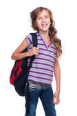 Cheerful schoolgirl with rucksack — Stock Photo