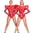Two go-go dancers in red stage costume — Stock Photo #15792773