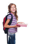 Cheerful little girl holding book — Stock Photo