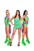 Three smiley go-go dancers — Stock Photo
