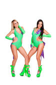 Two alluring smiley go-go dancers — Stock Photo