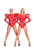 Two go-go dancers in red stage costume — Stock Photo