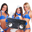 Three party girls with dj controller — Stock Photo
