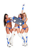 Two go-go dancers and woman dj holding controller — Stock Photo