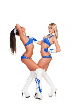 Two party girls in stage costumes