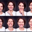 Set of attractive happy woman - Stock Photo