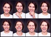 Uppsättning av attraktiv glad kvinna — Stockfoto