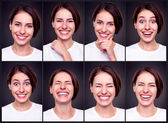 Zestaw atrakcyjnych szczęśliwą kobietą — Zdjęcie stockowe