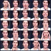 Uppsättning av vacker känslomässiga kvinna — Stockfoto