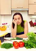 Yorgun ev kadını — Stok fotoğraf