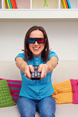 Woman in stereo glasses — Stock Photo