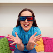 Stock Photo: Happy womin stereo glasses