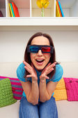 Excited young woman in stereo glasses — Stock Photo