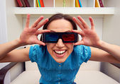 Woman in 3d glasses watching the movie — Stock Photo