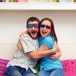 Couple in 3d glasses watching movie — Stock Photo