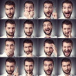 Stock Photo: Set of handsome emotional man