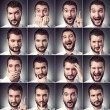Set of handsome emotional man — Stock Photo