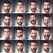 Satz von schöner emotionaler mann — Stockfoto