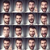Zestaw przystojny mężczyzna emocjonalne — Zdjęcie stockowe