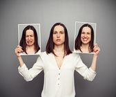 Mulher, escondendo suas emoções — Foto Stock