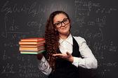 šťastný student polohovací palm knihy — Stock fotografie
