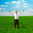 Man raising hands up - Stock Photo