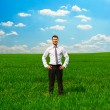 Man standing on green grass and smiling — Stock Photo #25244947