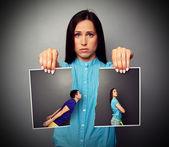 грустно женщина брокерское обслуживание от отношения — Стоковое фото