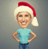 Bighead girl in santa hat — Stock Photo