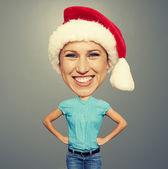 Bighead girl in santa hat — Stock Photo