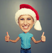 Happy santa girl with big head — Stock Photo