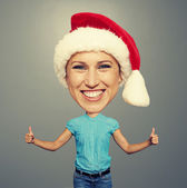 Santa happy girl showing thumbs up — Stock Photo