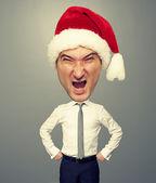 Angry santa man with big head — Stock Photo