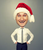 Joyful santa man with big head — Stock Photo