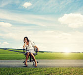 Businesswoman on the road — Stock Photo