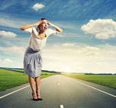 Screaming woman standing — Stock Photo