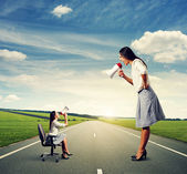 Big and small angry businesswomen — Stock Photo