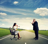 Man and young businesswoman — Stock Photo