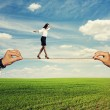 Startled woman balancing on the rope — Stock Photo #47807635